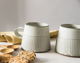 Ceramic Tea Cup, Modern Tea mug, White ceramic cup, White Coffee Mug in straight lines Pattern ,Textured coffee cup, White kitchen homedecor