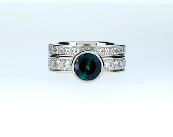 Engagement ring set, London blue topaz ring, White sapphire, wedding band, engagement, Teal, blue topaz, sapphire, unique, wedding set