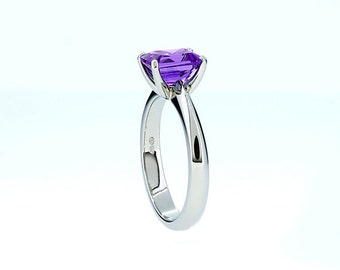 Emerald cut amethyst engagement ring, solitaire, white gold, yellow gold, purple wedding ring, amethyst solitaire, thin engagement, violet