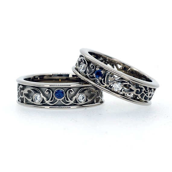 Items similar to Filigree wedding band set with blue sapphires and ...