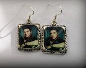 Elvis Earrings Picture Jewelry 3D Dimensional  Green Blue  Silver Earrings