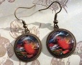 Red Bird Earrings Finch Jewelry 3D Orange Dimensional Round Bronze  Picture