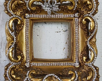 Antique gesso wood picture frame shabby cottage chic embellished beautiful rhinestone gorgeous wall hanging home decor anita spero design