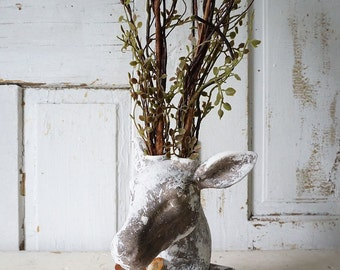 Table top buck statue branch antlers rustic farmhouse painted gray white deer head faux twig embellishments Nordic decor anita spero design