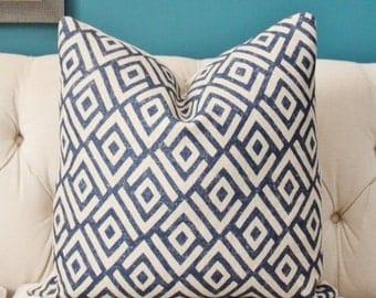 Schumacher Pillow Cover - Blue Geometric Pillow Cover - Indigo and Natural - Motif Pillow - Blue Cover - Navy Blue Pillow - Blue Zig Zag