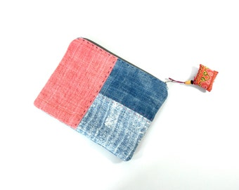 vintage hemp patchwork pouch, hmong pouch, hemp purse, jewellery purse, makeup purse