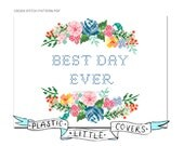 Best Day Ever. Modern Positivity Floral Cross Stitch Pattern. Digital Download PDF.