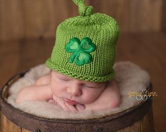 Irish Baby Hat, Four Leaf Clover Hat, Newborn Photo Prop, Newborn Knit Boy Hat, Newborn Knit Girl Hat,Baby Hat, Green St. Patrick's Day Hat