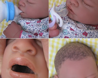 OPEN MOUTH reborn baby girl, Holds full pacifier, Faux formula bottle, biracial, ready to ship!