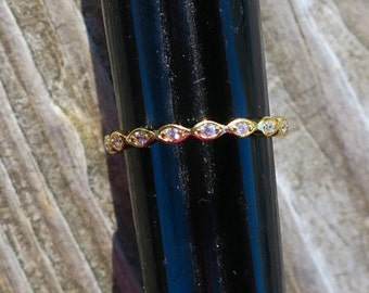 Dainty Vintage 14k Gold Over 925 Sterling Silver CZ Stacking Ring