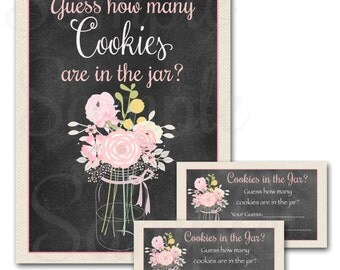 Country Chic Floral Mason Jar Baby Shower Games -Guess how many cookies in the jar?- Printable Cards