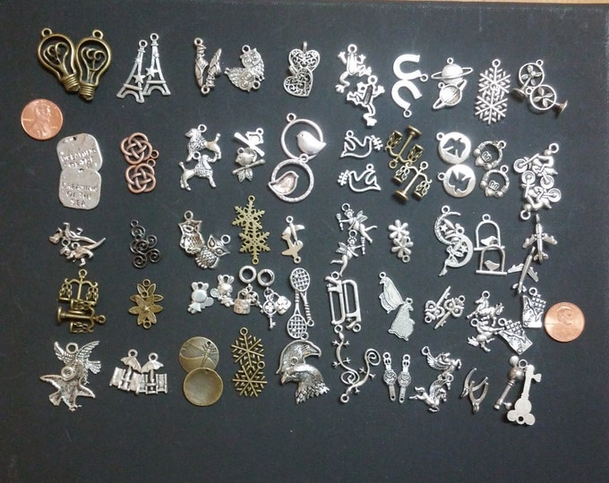 SALE save 25% - 50 charm pairs, 100 charms total, No Duplicate pairs, jewelry DIY, bulk charms, silver charms, bronze charms, alloy charms