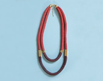 Dip Dye Cord necklace in burgundy and brick red with beads