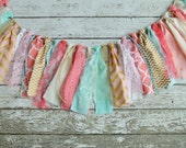 Pink Mint Gold Birthday Banner Highchair Banner Pink Mint Gold Nursery Banner Nursery Bunting Cake Smash Photography Backdrop Garland Ribbon