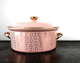 Vintage • Hall China • Covered Casserole • Pink •