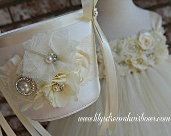 Flower girl Basket, Ivory, Ivory flower girl basket