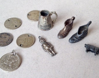 Vintage Charm Collection, Miniature Lucky Boots, Whitbread Tankard, Pig, Baby Charm, Silver Three Pence Coin Charms, Bracelet Charms,
