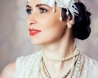 Bridal Flapper Lace and Flower Headband - Art Deco Wedding - White Bridal Headpiece