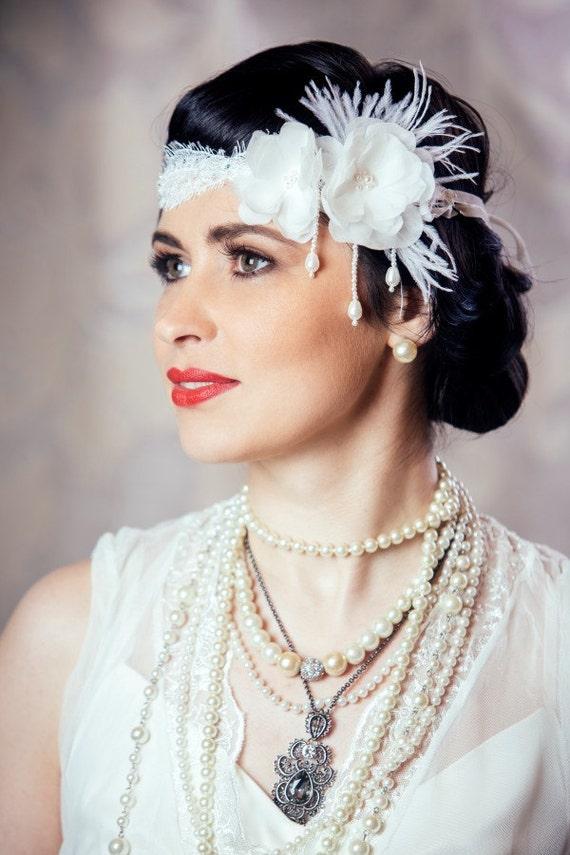 Bridal Flapper Lace and Flower Headband Art Deco Wedding