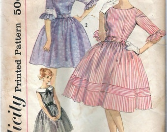 Vintage 1960's Simplicity 3782 Simple To Make Dress- Full Skirt. Sewing Pattern Size 13 Bust 33""