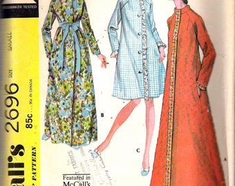 """Vintage 1970 McCall's 2696 Misses' Robe in Three Versions Sewing Pattern Size Small  8 - 10 Bust 31 1/2"""" - 32 1/2"""""""