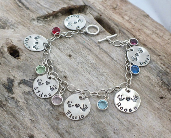 Personalized Mommy Bracelet - Name Bracelet - Mom Bracelet -Handstamped Charm Bracelet -Grandma Bracelets -Birth Gift -Mommy Gift