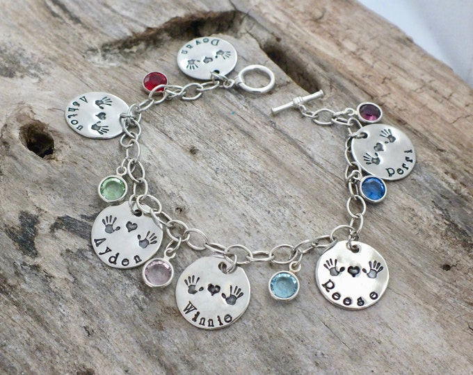 Personalized Mommy Bracelet - Name Bracelet - Mom Bracelet -Handstamped Charm Bracelet -Grandma Bracelets -Birthday Gift -Mommy Gift