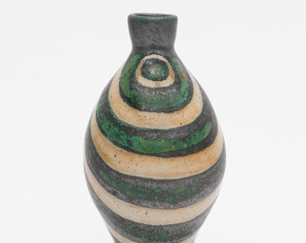 Stoneware Flower Bud Vase - Green Black Tan Swoosh Stripes