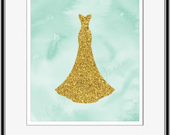 Wedding Dress Art Gift for Bride Gold Foil Glitter and teal and gold wedding decor wedding planning gift Bridal Shower Gift for her