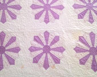 "Antique Quilt, Vintage Purple Quilt, Dresden Plate Variation, 1934 Signed Quilt, Purple Quilt with Purple Sawtooth Border, 93""x83"""