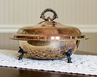 WM Rogers Rustic Silverplated Covered Serving Dish - Lidded, Pedestal Footed, Heavy Patina - Vintage Home Dining Decor