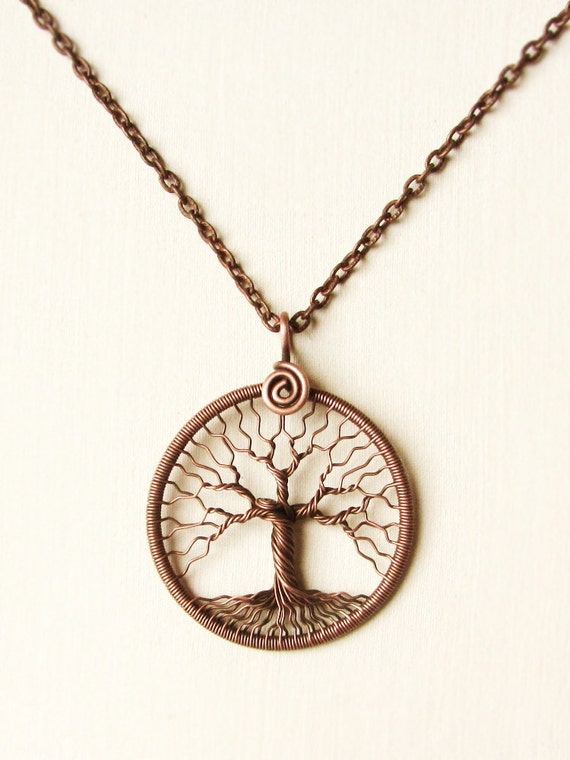 tree of copper wire wrapped pendant family tree by