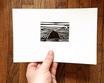 """Haystack Rock Oregon - Original Linocut 5 x 7"""""""
