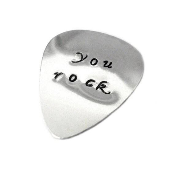 Customizable Silver Guitar Pick - Musician Gift Idea - Wedding Favor - Handmade - Gift Box Included