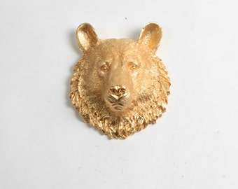 Bear Head Wall Mount - The Hudson Mini Gold Faux Bear Head Bust Wall Art by White Faux Taxidermy Animal Heads - Chic Bear Wall Decor