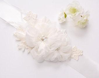 Pure Silk Flower Bridal Belt - Wedding Sash Belt - Bridal Floral Sash - Wedding Belt - Floral Bridal Sash - Lace Wedding Sash - Lace Bridal