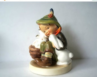 "Vintage MI Hummel Figurine ""Playmates"" Boy with 3 Rabbits TMK-2"
