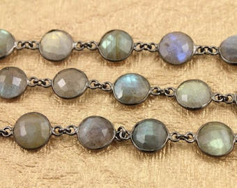 Flashy Blue Labradorite Coin Shape Bezel Chain in Antique Finish, Coin Chain ,10 mm, Sold as Foot, (GMC/LAB/352)