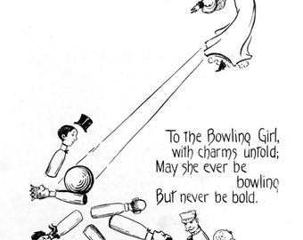 1909 TO the BOWLING GIRL Toast Print by Nella Fontaine Binckley