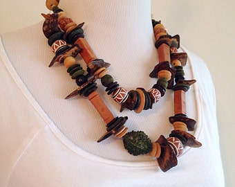 Vintage Chunky Tribal Ethnic Beaded Necklace