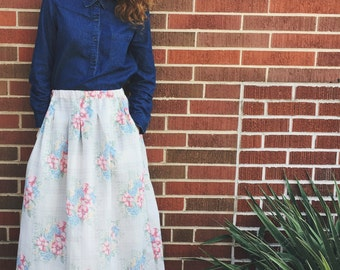 Floral Pleated Full Skirt with Pockets