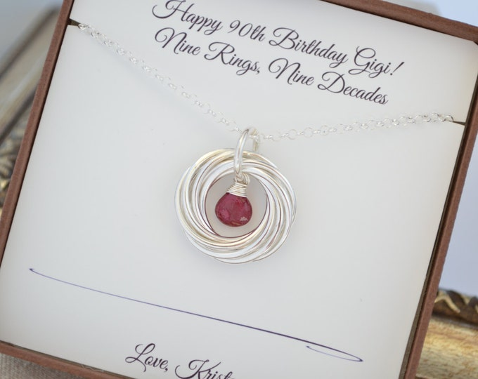 90th Birthday gift for mom, Ruby birthstone necklace, 9th Anniversary gift for women, Family of nine, Gift for grandma, Gift for mom,9 Rings
