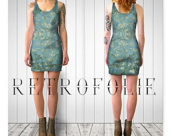 Blue Blossom Fitted Dress, van gogh, bodycon dress, tight fitted by retrofolie