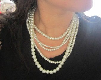 Chunky Bridal Necklace, 5 Strand Pearl Necklace, Multi Strand Statement Necklace, Ivory Pearl Wedding Jewelry, Bridal Jewellery