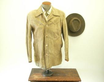 1970s Suede Leather Mens Coat Vintage Beige Cowboy Western Style Suede Jacket by Pampus  - Size 40 (MEDIUM)