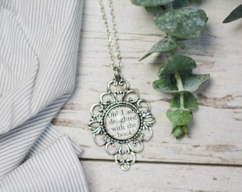 Jane Austen Northanger Abbey Antiqued Silver Book Page Literature Necklace Book Quote Oh I am delighted with the book