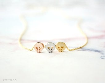 dainty skulls - mixed metals delicate necklace / rose gold, gold and silver minimalist layering jewelry - gift for her