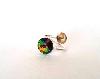 Sterling silver ring,  swarovski ring, Adjustable ring, Gift for women, green swarovski, Statement ring, gift for her