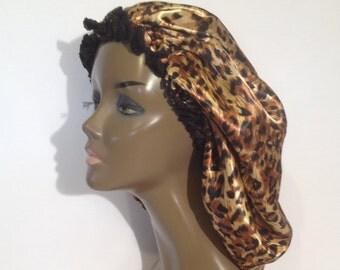Big Cheetah Satin Bonnet  (Jumbo Size)