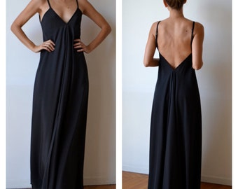Long black silk dress / Black maxi dress / Backless dress / Silk evening dress / Party dress / Prom dress
